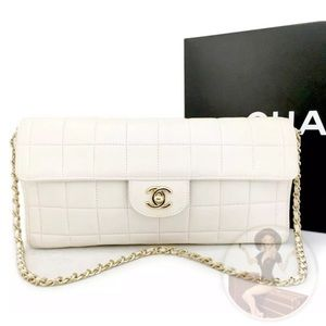 CHANEL Choco Bar Leather Classic Chain Flap Bag